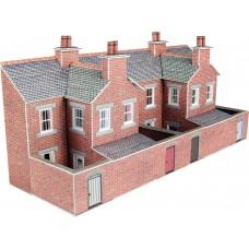 Metcalfe pn176 terraced houses backs red brick low relief