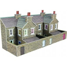 Metcalfe pn177 terraced houses backs stone low relief